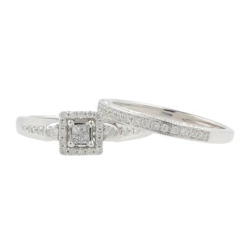 Ladies Modern 10K White Gold Princess Cut Diamond Wedding Ring Duo Set - 0.50CTW