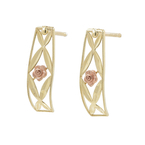 Ladies Vintage Estate 10K Yellow Gold Ornate Rose Flower Push Back Floral Earrings 20MM