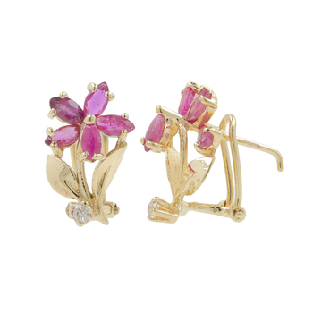 Ladies Classic Estate 14K Yellow Gold Maroon Spinel & Diamond Floral Earrings