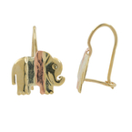 10K Yellow Gold Elephant-Shaped Kidney Hook 15MM Earrings