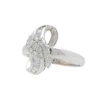 Ladies Modern 18K White Gold Round & Baguette-Cut Diamond Swirl Bypass Ring - 0.79CTW