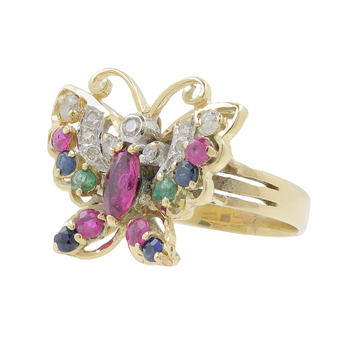 Ladies Estate 14K Yellow Gold Red Spinel, Blue Topaz & Diamond Butterfly-Shaped Animal  Ring