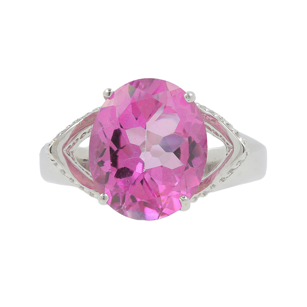 Ladies DALIGLIO 14K White Gold Pink Topaz Gemstone & Diamond 0.48CTW ...
