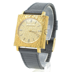Girard Perregaux Gold Tone Dial Square Face Black Leather Band Men's Watch