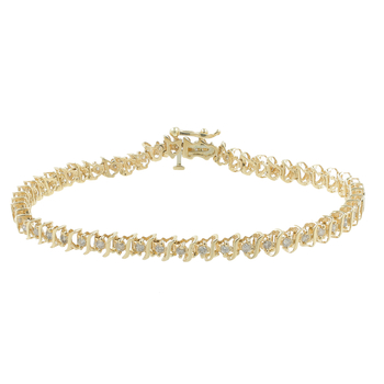 Ladies Vintage Estate 14K Yellow Gold Diamond Tennis 7 1/2 Inch Bracelet - 1.06CTW