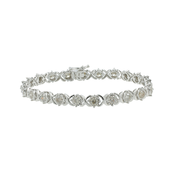 Ladies Modern 10K White Gold Round Diamond 7 inch Tennis Bracelet - 3.30CTW