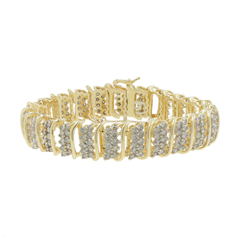 Ladies Vintage Classic Estate 14K Yellow Gold Diamond Bracelet - 12.0CTW