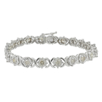 Ladies Modern 10K White Gold Champagne Diamond 7 inch Tennis Bracelet - 4.40CTW