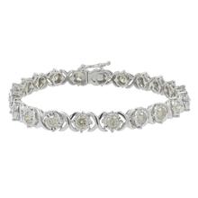 Ladies Modern 10K White Gold Champagne Diamond 7 inch Tennis Bracelet - 4.40CTW