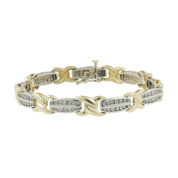 "Ladies Classic Estate 14K Two-Tone Gold ""X"" Design Diamond Bracelet - 2.58CTW"