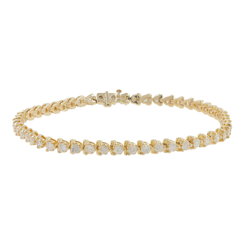 Ladies Vintage Classic Estate 14K Yellow Gold Diamond Tennis Bracelet - 2.55CTW