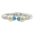 DAVID YURMAN Ladies 925 Silver & 14K Yellow Gold Twisted Cable Bangle Bracelet