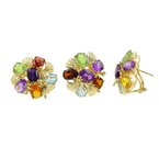 Estate Ladies 14K Yellow Gold Multi Color Gemstone Cocktail Ring Earrings Set