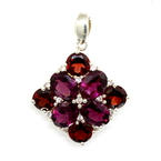 Ladies Estate 925 Sterling Silver Purple, Red and White Cubic Zirconia Gemstone Pendant - 25mm