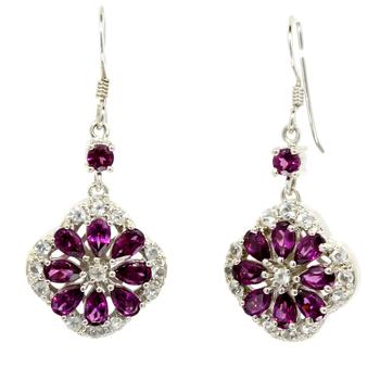 Ladies Estate Sterling Silver Purple Tourmaline Gemstone Drop Dangle Earrings