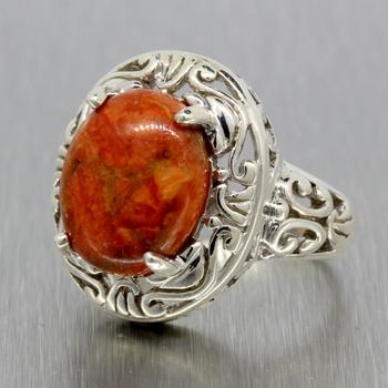 Ladies Vintage Estate Sterling Silver Orange Cabochon Statement Ring - Size 7