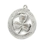 Vintage Estate 925 Sterling Silver Three Leaf Clover Celtic Circle Pendant