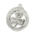 Vintage Estate 925 Sterling Silver Three Leaf Clover Celtic Circle Pendant