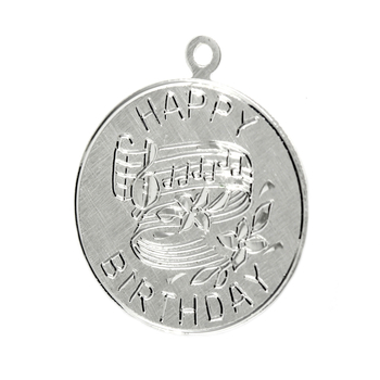 """Vintage Estate 925 Sterling Silver """"Happy Birthday"""" Charm Disc-Shaped Pendant - 23mm"""
