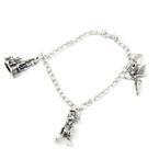 Vintage Estate 925 Sterling Silver Disney Tinker Bell Pinocchio Charm Bracelet - 7 inch