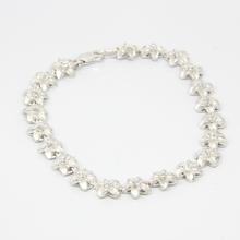 Ladies Vintage Estate Sterling Silver Plumeria Flower Floral Glass Stone Bracelet