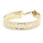 Ladies Vintage 925 Sterling Silver Tri-Color Yellow, White and Rose Gold-Tone Bracelet