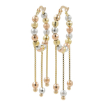 Ladies Estate 14K Tri-Color Gold Chandelier Bead Saddle Back Hoop Earrings