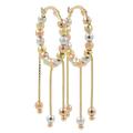 Ladies Estate 14K Tri-Color Gold Chandelier Bead Saddle Back Hoop Earrings