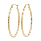 Ladies Vintage Classic Estate 14K Yellow Gold Saddle Back 35MM Hoop Earrings