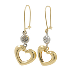 Estate 18K Two-Tone Yellow & White Gold Zirconia Drop Heart Fish Hook Earrings