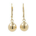 Ladies Vintage Classic Estate 14K Yellow Gold Sphere French Back 25MM Earrings