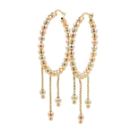Ladies Classic 14K Tri-Color Gold Chandelier Bead Saddle Back Hoop Earrings