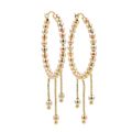 Ladies Classic 14K Tri-Color Gold Chandelier Bead Saddle Back Hoop Earrings