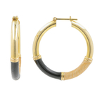 Estate 14K Yellow Gold High Polished Black Enamel Hoop Saddle Back Earrings