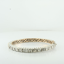 Vintage Rose Cut Bangle Aporx 17 Carat Diamond Bracelet In Silver & Rose Gold