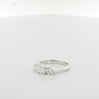 Ladies Past Present & Future triple Diamond Engagement 18K White Gold Ring