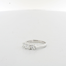 Ladies Past Present & Future triple Diamond Engagement 18K White Gold Ring