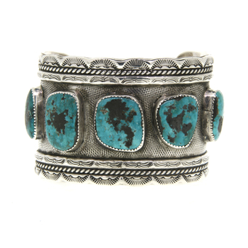 Ladies Vintage Antique 925 Sterling Silver Turquoise Bangle Cuff Bracelet