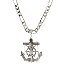 Estate 925 Sterling Silver Anchor Mariners Nautical Cross Pendant & Figaro Chain