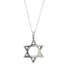 "Estate 925 Silver 20mm Star of David Charm Pendant & 16"" Cable Chain Necklace"