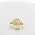 Ladies .40 Solitaire Diamond 14K Solid Double Band Organic Designed Wedding Ring