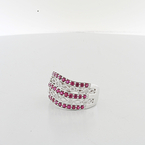 Mesmerizing Ladies Red Spinel & Diamond Filigree 14K White Gold Cocktail Ring