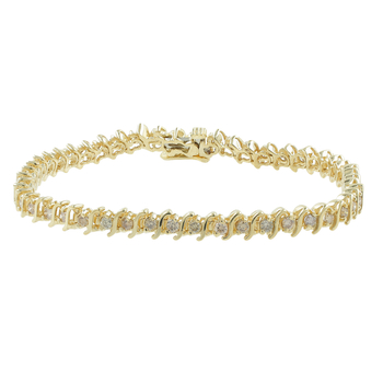 Ladies Classic Estate 14K Yellow Gold Champagne Diamond Tennis Bracelet - 2.45CTW