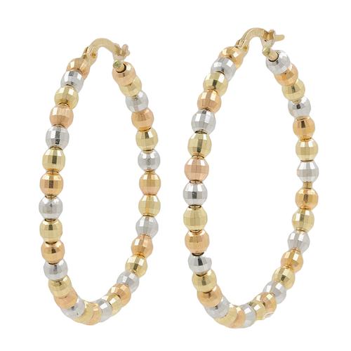 Las Clic Estate 14k Tri Color Gold Bead Saddle Back Hoop Earrings 40mm