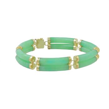 Ladies Vintage Estate 14K Yellow Gold Green Jade Gemstone Double-Row Bracelet