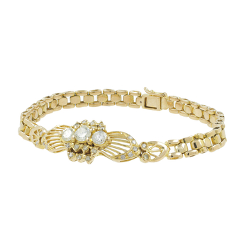 Ladies Vintage Classic Estate 18K Yellow Gold Diamond Link Bracelet - 1.04CTW
