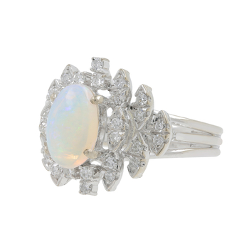 Ladies Classic Estate 14K White Gold Play of Color Opal Cabochon & Diamond Ring