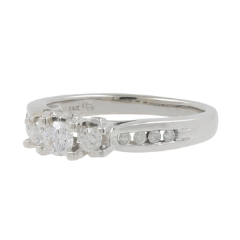 Ladies Vintage Classic Estate 14K White Gold Three-Stone with Accent Diamond Ring - 0.58CTW