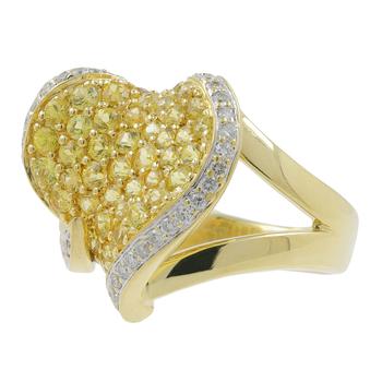 Ladies Estate 18K Yellow Gold White Diamond & Yellow Sapphire Heart-Shaped Ring