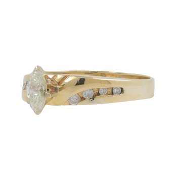 Ladies Estate 14K Yellow Gold Marquise Diamond Solitaire w/ Accent Ring - 0.44CTW